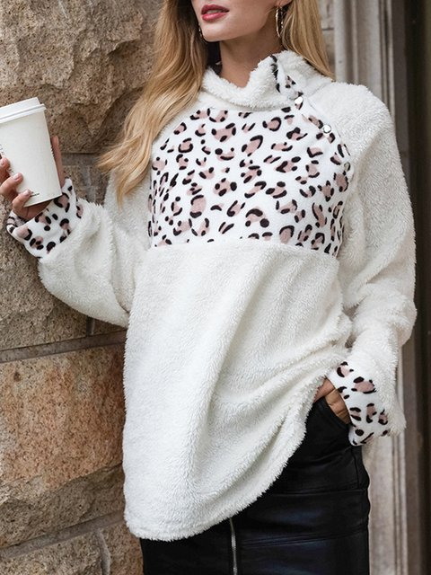 Long Sleeve Leopard Casual Shift Sweatshirt