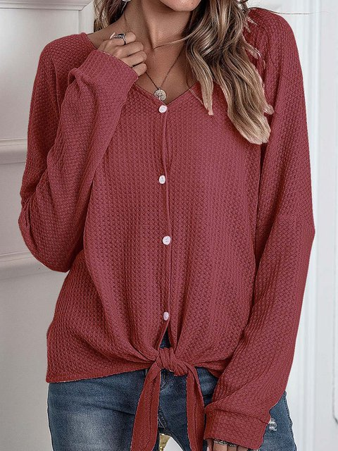 Long Sleeve Cocoon V Neck Knitted Shirts & Tops