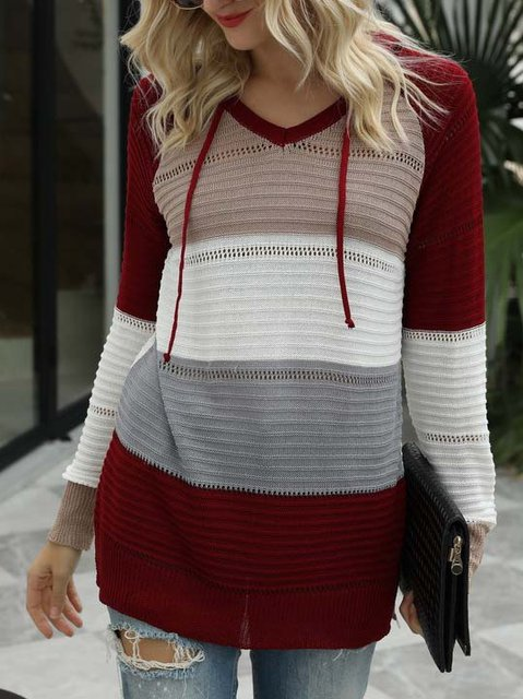 Knitted Casual Cotton-Blend Long Sleeve Shirts & Tops