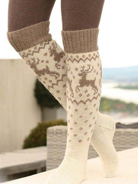 High Elastic Cotton Printed Winter Beige Socks