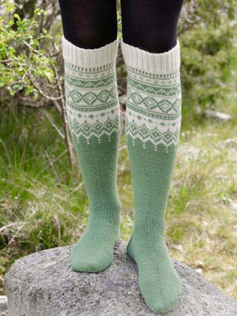 High Elastic Cotton Printed Winter Green Snow Socks