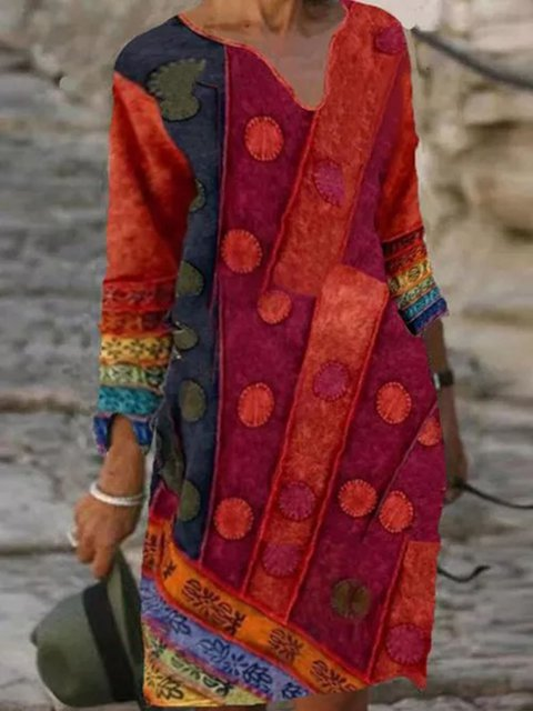 Casual Geometric Tunic V-Neckline Shift Dress