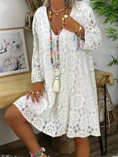 Casual Solid Tunic V-Neckline A-line Dress