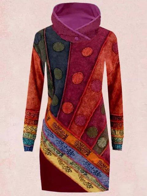 Casual Color Block Sweatershirt Above Knee Sheath Dress