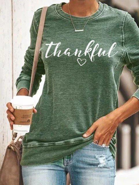Women's Thanksgiving Alphabet Print T-shirt