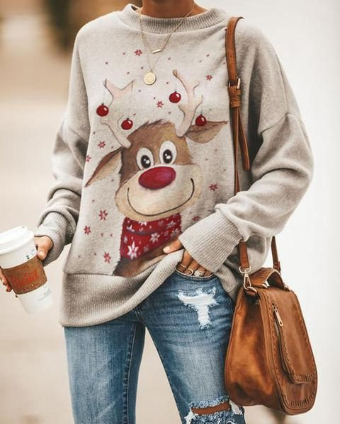 Women's Christmas Elk Print Sweatshirt