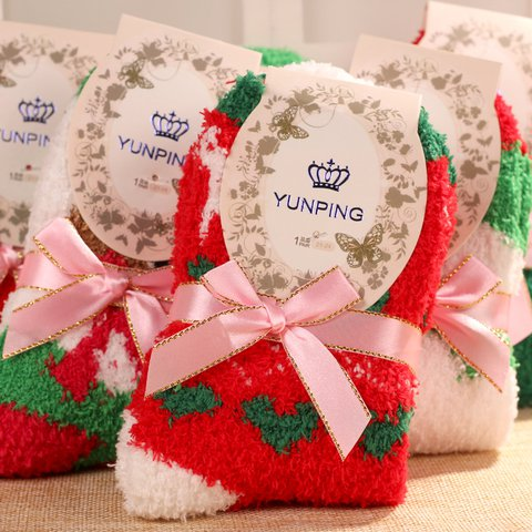 Special thick, warm coral stockings for the floor socks for Christmas
