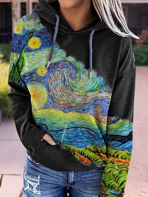 Landscape Printed Long Sleeve Patchwork Hoodie Tops