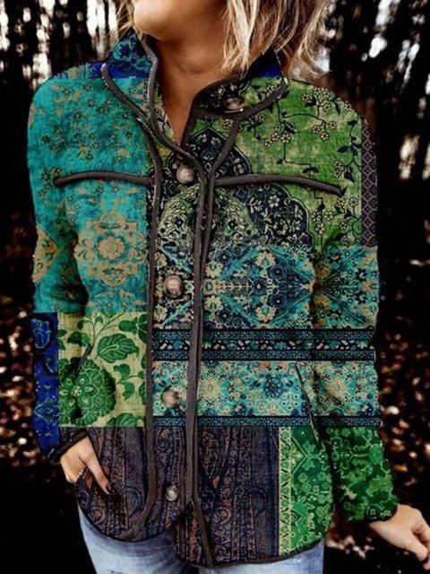 Long Sleeve V-neck Buttons Coats