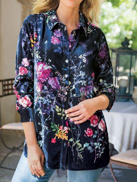 Women's Long Sleeve Cotton-Blend Basic Shift Shirts