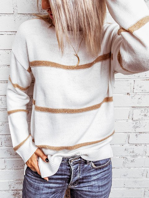 Solid Casual Woven Round Neck Sweater