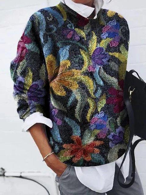 Cotton-Blend Long Sleeve Crew Neck Striped Sweatshirt