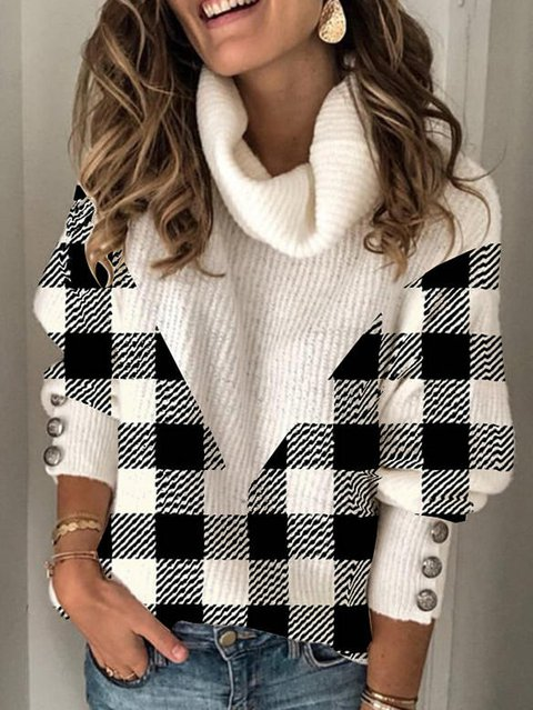 Color Block Grid Turtleneck Casual Sweaters