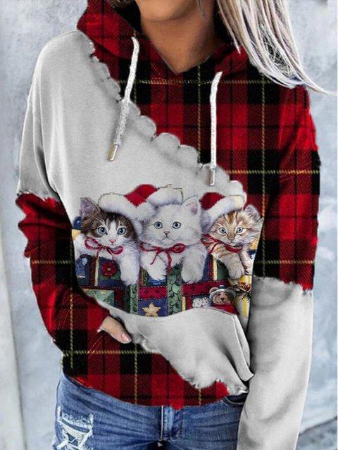 Cat Print Long Sleeve Animal Sweatshirt