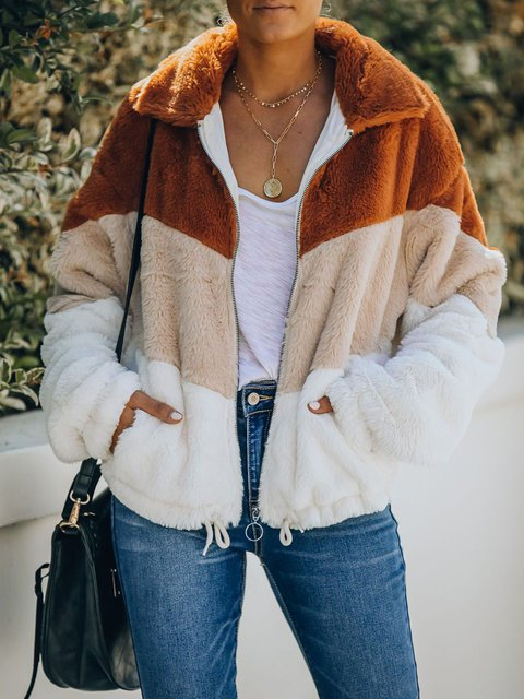 POCKETED FAUX FUR CHEVRON JACKET