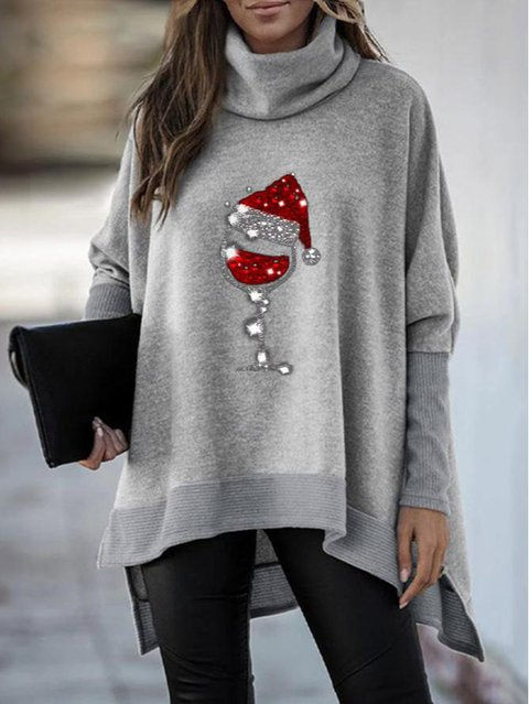 Ladies Christmas Red Wine Glass Turtleneck Sweatshirt