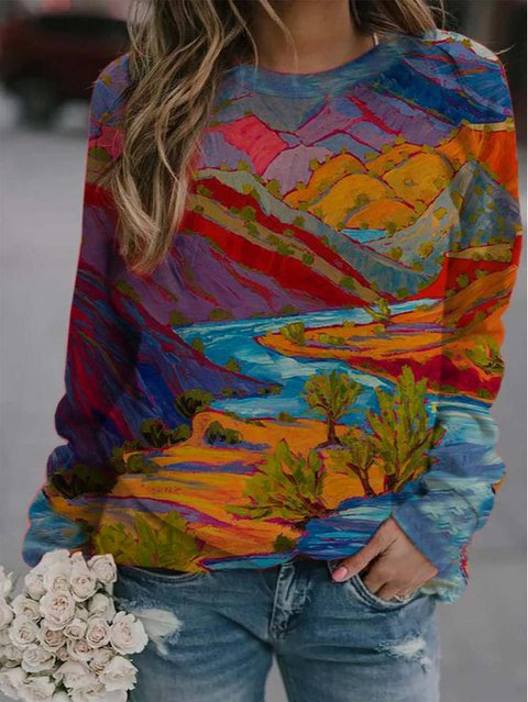 Women's casual mountain oil painting print round neck sweatshirt