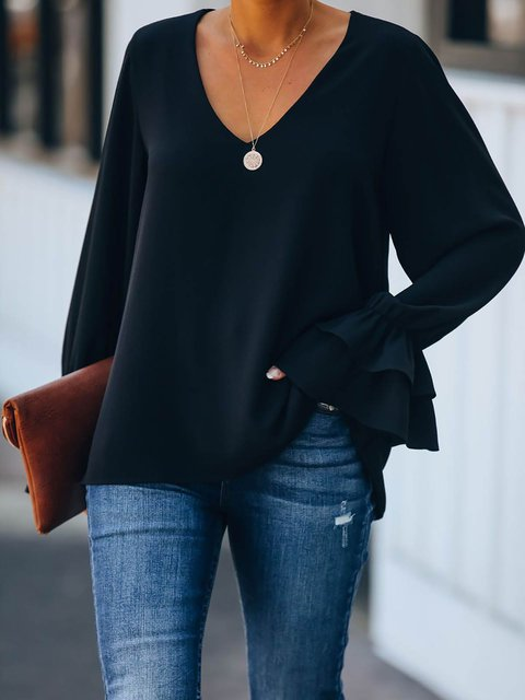 Solid V-neck Cotton-Blend Ruffle Cuff Blouse