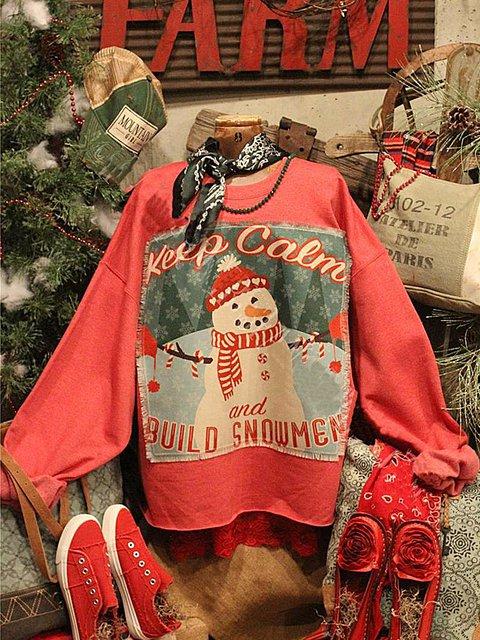 Casual Crew Neck Christmas Snowman Sweatshirt