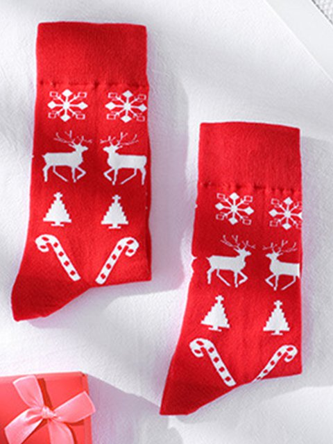 Christmas elk pattern short socks cotton socks