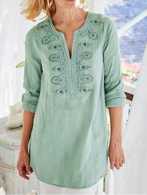 Women's Cotton-Blend V Neck Casual Shirts