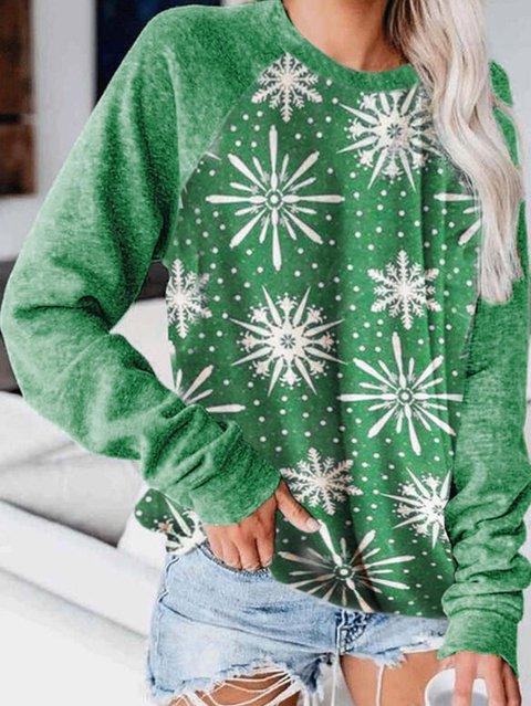 Color Block Leopard Figure Round Neck Long Sleeves Christmas Sweatshirt