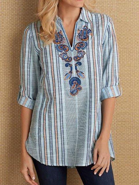 Women's Floral-Print Casual Shirt Collar Long Sleeve Shirts