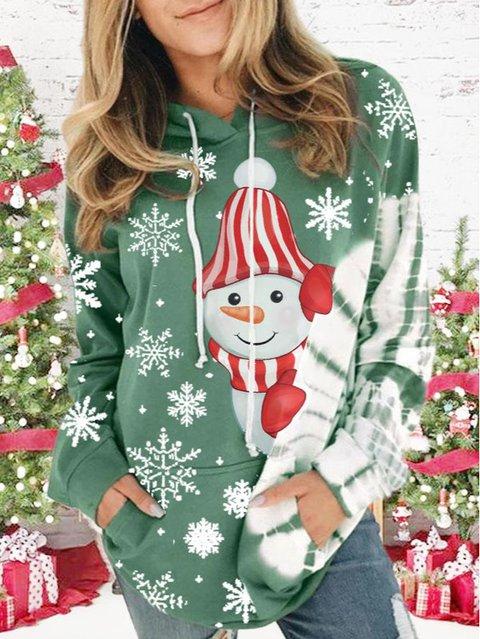 Ladies Tie Dye Christmas Snowman Print Hoodie