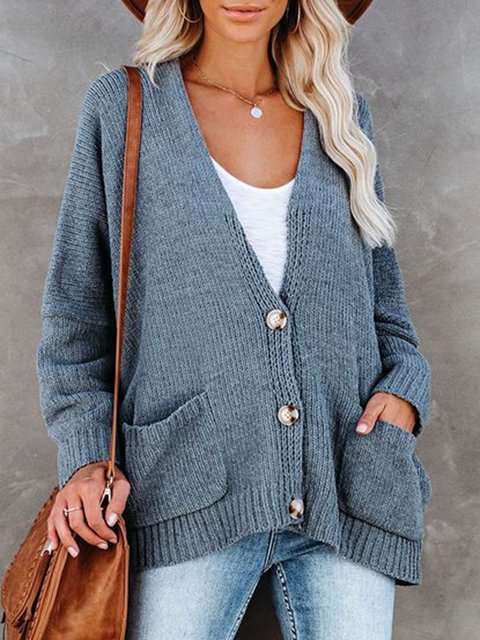 Long Sleeve V Neck Casual Plain Sweater