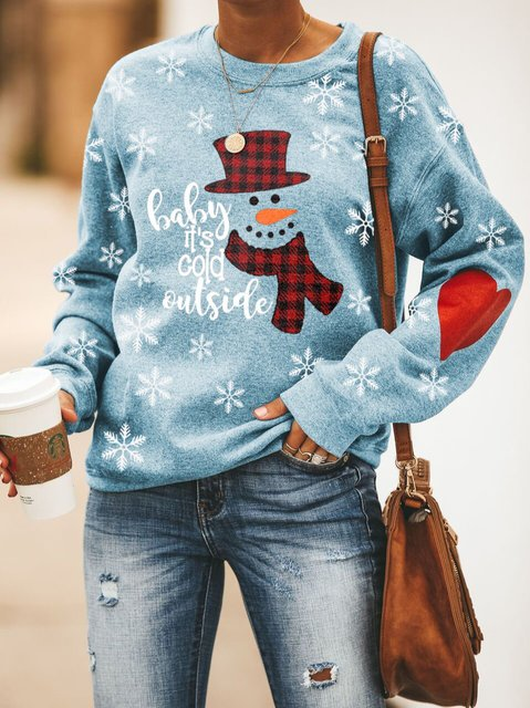 Women's Christmas Snowman Baby Its Cold Outside Casual Sweatshirt