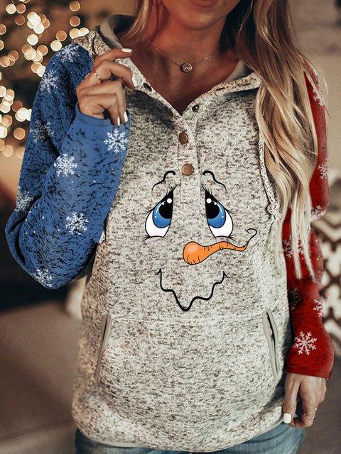 Ladies Snowman Snowflake Print Sweatshirt