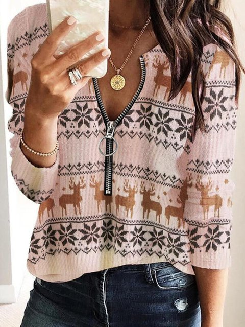 Color Block V-Neck Casual Christmas Sweaters