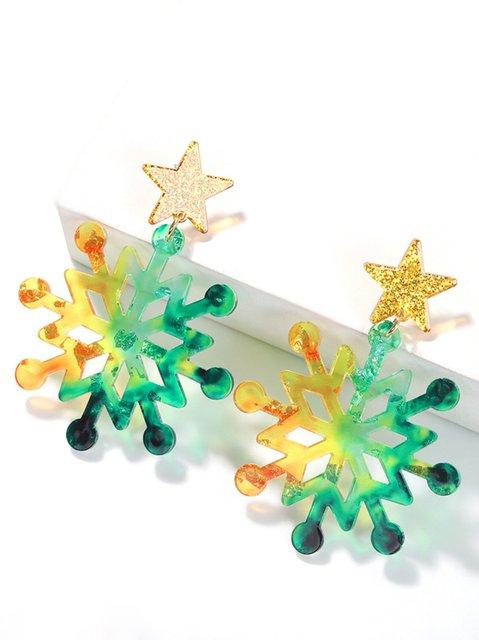 Ladies Christmas Fantasy Colorful Christmas Tree Snowflake Earrings