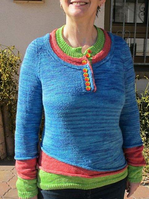 Long Sleeve Casual Color-Block Geometric Shirts & Tops