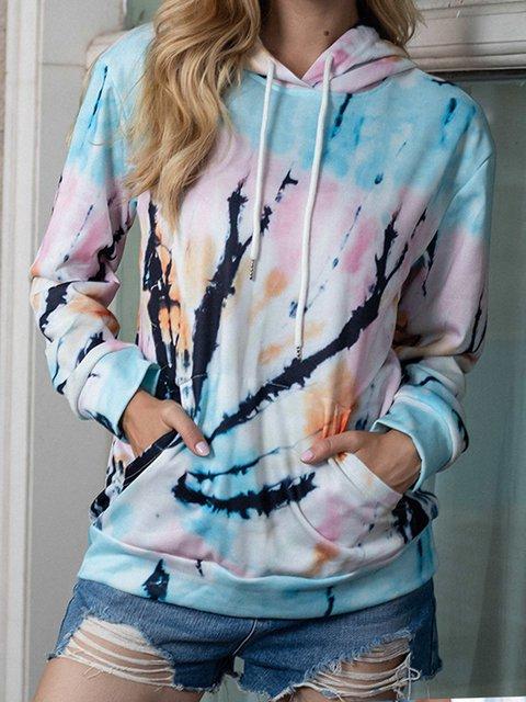 Casual Long Sleeve Shift Ombre/tie-Dye Sweatshirt