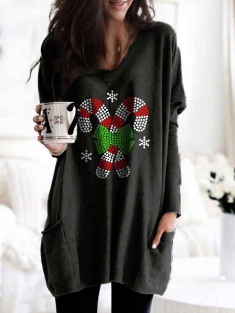 Women's Christmas Candy Canes Print Pocket Top
