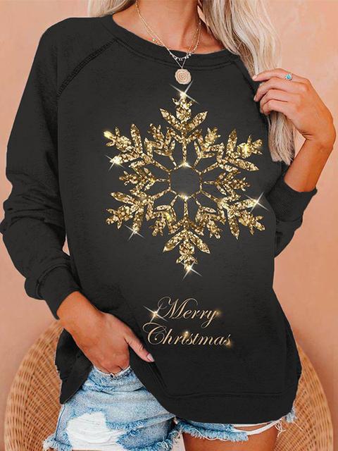 Women's Shiny Snow Merry Christmas Print Sweatshirt