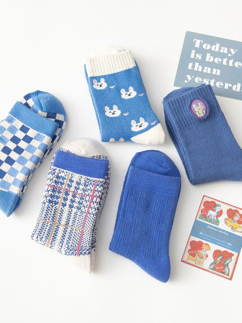 Winter blue thick plus velvet socks