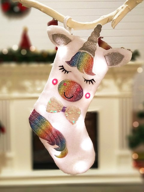 Light Unicorn Christmas Socks Gift Bag