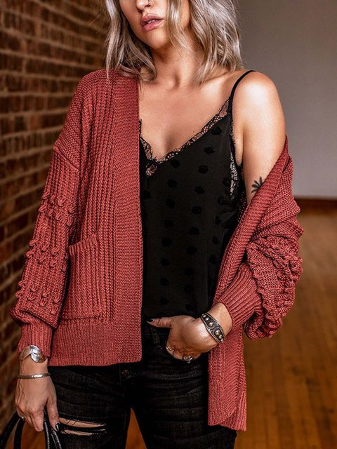 Solid Knitted Long Sleeve Cotton Sweater