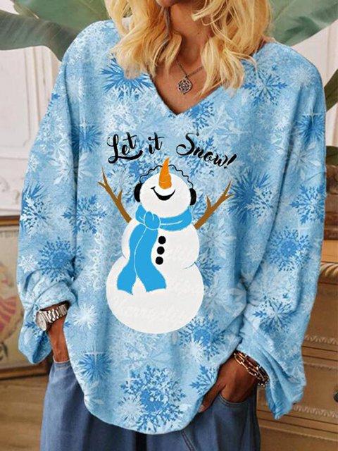 Women's LET IT SNOW Snowman Snowflake Shirt
