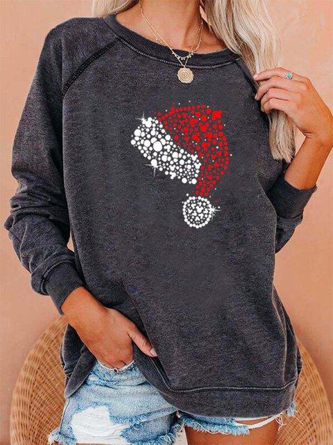 Women's ChristmasHat Print Round Neck Sweatshirt