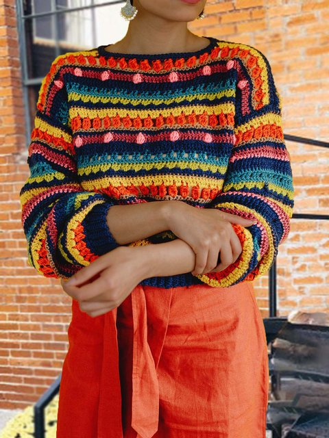 Long Sleeve Knitted Crew Neck Sweater