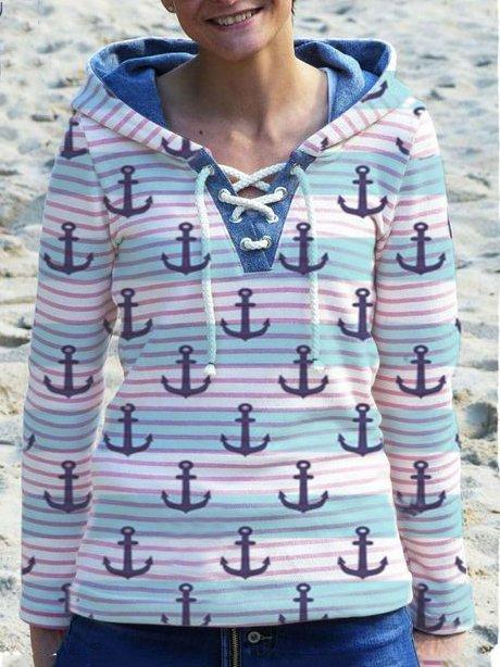 Casual Long Sleeve Hoodie Printed Sweatshirt