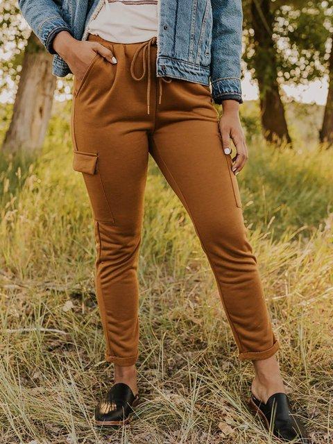 Solid Pocket Elastic Waistline Drawstring Cargo Pants