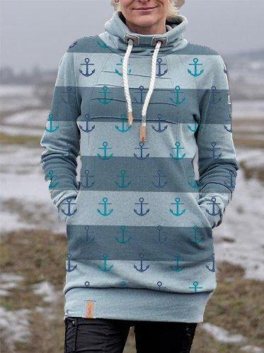 Stripes Hoodie Long Sleeve Shift Sweatshirt
