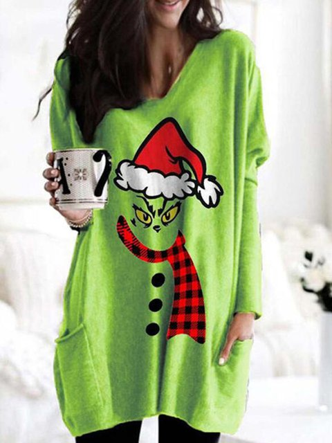 Print Grid V-Neck Long Sleeves Christmas Sweatshirt