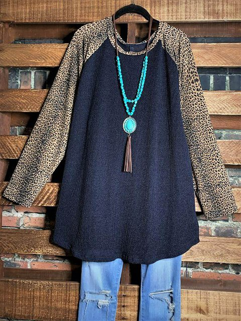 Leopard Round Neck Long Sleeve Loose Tunic & Tops