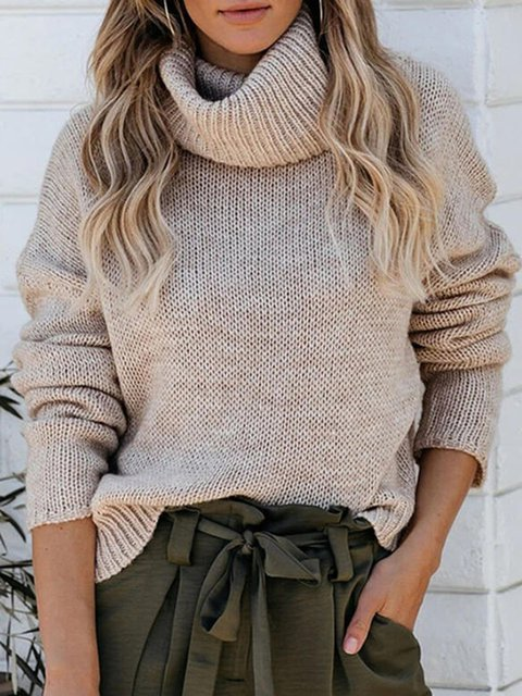 Solid Turtleneck Casual Long sleeve Sweaters