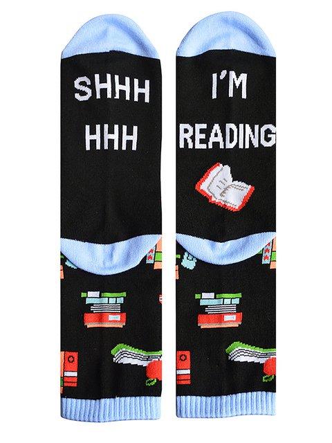 I'M READING SHHH HHH Christmas Socks Medium Length Socks